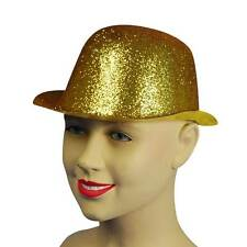 Glitter Gold Glitter Plastic Bowler Hat. Fancy Dress Headwear Accessory