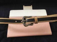 Fendi Black Patten Leather B Belt With Gold Trim Sz. 34 Or Euro 85