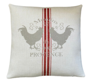 Provence hens cushion cover 40 cm ~ Rustic/French country/feed sack/gift