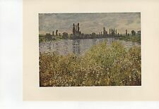 """1955 Vintage """"BANKS OF THE SEINE VETHEUIL"""" MONET Full Color Art Plate Lithograph"""