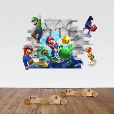 US 3D Wall Stickers Super Mario Cartoon Room Decal Wallpaper Removable