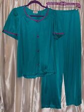 "Dark teal knit nylon tricot 2-piece pajamas top & pant bottom 28"" inseam MEDIUM"