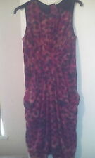 Pure Silk Whistles Red/Black/Green  Animal Print Wiggle Dress sz8