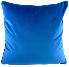 """LUXURY EVANS LICHFIELD ROYAL VELVET AZURE BLUE PIPED SUPERSOFT CUSHION COVER 17"""""""