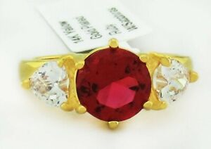 RUBY  3.70 Cts & WHITE SAPPHIRE RING 14K YELLOW GOLDPLATED ** New With Tag **