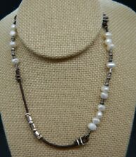 Lovely Silpada N1063 Sterling Silver 925  Brown Leather Pearl Button Necklace
