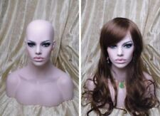 Whiten Skin Fiberglass Female Mannequin Head Bust For Wig,Jewelry/Hat Display 19