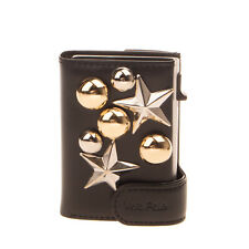 Leather Trifold Wallet Studded Automatic Pop Up Card Case Coin Pocket