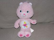 "9"" CARE BEAR LIGHT PINK TRUE HEART STUFFED ANIMAL PLUSH TOY 2007 DOLL HEART BLUE"