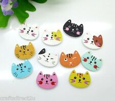 50 Wooden Cute Cat Buttons - Scrapbooking - Crafting - Sewing - UK SELLER!!