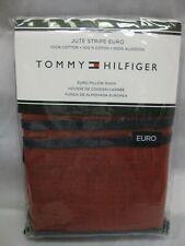 Tommy Hilfiger Red Navy Pillow Sham Jute Stripe Euro Cotton Nip $120