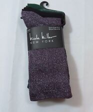 Womens Nicole Miller 3PK Black Green stripes Purple sparkly Crew Socks sz 9-11