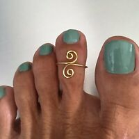 Gold Over Sterling Silver Swirl Toe Ring, Silver Rings, Gold Ring