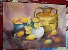 Dorthy Primm Gloucester MA artist watercolor still life of fruit & vase in brown