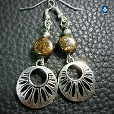 ❤  Pretty Bronzite & Silver Plated Pendant Earrings