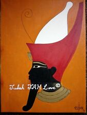 Original, signed Egyptian painting on canvas of black king, Pharaoh Mentuhotep