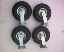 "4x 10"" Pneumatic Castor Wheels 2 fixed, 2 swivel - New - Caster"