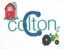 Personalized Custom Made Boy or Girl Farm Barn Tractor Name or Birthday T Shirt