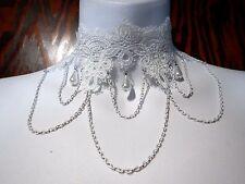 ORNATE WHITE LACE CHOKER collar victorian wedding art nouveau bead necklace K3