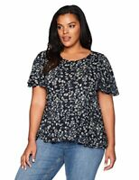Lucky Brand Women's Plus Size Printed Top, Navy 3X