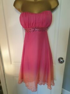 Fuscia pink two tone padded bust prom dress UK 12 strapless beaded lined vgc