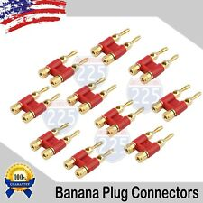 10 Pack 4mm Gold Dual Banana Plugs Screw Type Speaker Wire Connector Red
