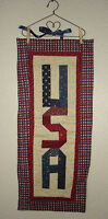 USA WALL HANGING QUILT~AMERICA~PATRIOTIC~WITH HANGER~4TH OF JULY~MADE IN USA