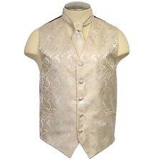 New formal Men's Paisley Vest Tuxedo Waistcoat_Necktie Beige wedding prom