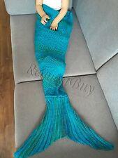 Mermaid Tail Sofa Blanket Super Soft Warm Hand Crocheted Knitting Wool For Kids