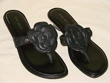 Nine West Beach Time Womens Black Leather Slide Flip Flop Sandal Shoe - Size 6M