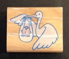 Rubber Stamp Stork And Baby