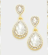 Crystal Rhinestone Evening Wedding Earrings Statement Drop Chic Teardrop Bridal