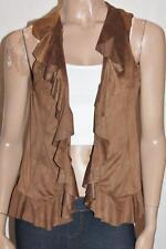 FLOWER Designer Brown Suede Frill Vest Size 8 NEW #sG106