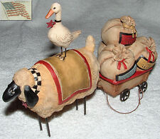 BLOSSOM BUCKET SHEEP DUCK WOOL WAGON 0911-82386 figurine apx 8x5 1/4x2 1/2