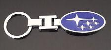 KeyRing Chain fob solid chrome metal enamel emblem to suit all SUBARU models