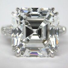 Genuine Off White 2.67 Ct Asscher Moissanite Engagement Ring 925 Sterling Silver