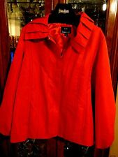 Dennis Basso FAB L Red Pleated Outdoor Zip Front Watr Resistant Jacket Statement