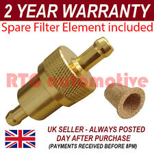 GOLD 6mm & SPARE ELEMENT METAL UNIVERSAL IN LINE FUEL FILTER ANODISED ALUMINIUM