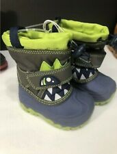 NEW Cat & Jack NEW Toddler Boys Warm Bernardo Snow Boots Green Monster Size 4