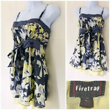 Firetrap Vest Top 100% Silk Size 10 S Evening Strappy Slimming Yellow Grey