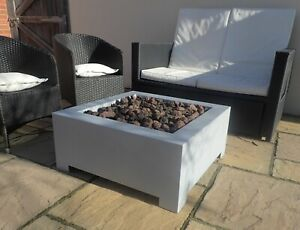 BrightStar CALLISTO Zinc Square Gas Fire Pit Table with cover Mains LPG 18 kw UK