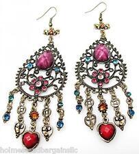 Archaize Crystal Chandelier Hearts Flowers Long Dangle Pierced Earrings #5 NWT