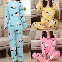 New Women Cartoon Pajamas Set Cute Leisurewear Homewear Long Sleeve Sleepwear