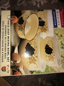 Philippe Richard Collection 8pc Deep Mixing Bowl Set Orig Box Vino  TU-38484