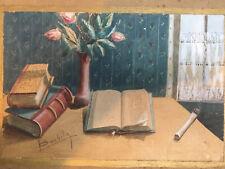 Peinture Sur Carton Papier Encadrée Nature Morte Au Livre Cigarette 1930