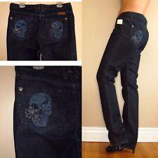 New J Company Womens Jeans Skull Slim Straight Leg Dark Black Hearts 32