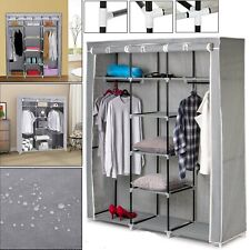 New Canvas Wardrobe Clothes Large Foldable Cupboard Storage Organiser Shelving