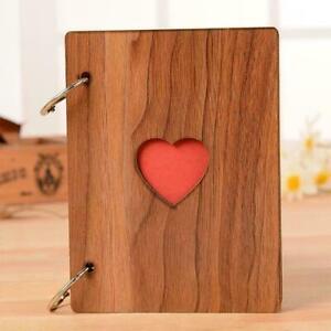 Wooden Photo Album Our Adventure Book DIY Memory Anniversary Travel O7U4