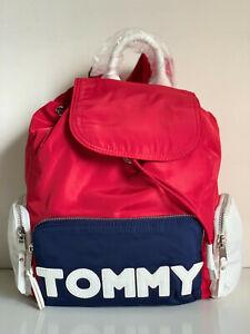 NEW! TOMMY HILFIGER RED NAVY BLUE NYLON TRAVEL WORK BACKPACK BAG PURSE $118 SALE