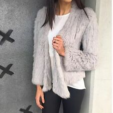 100% Real Farm Knit Rabbit Fur Cardigan Coat Jacket Irregular Collar AU Shipping